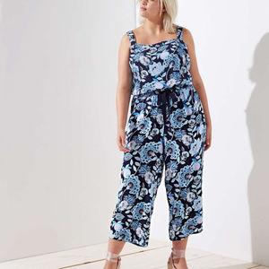 LOFT Blue Floral Jumpsuit Size 4